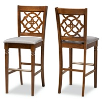 Designer Studios Alexandra Modern and Contemporary Grey Fabric Upholstered and Walnut Brown Finished Wood 2-Piece Bar Stool Set