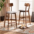 Designer Studios Cameron Modern and Contemporary Transitional Grey Fabric Upholstered and Walnut Brown Finished Wood 2-Piece Bar Stool Set