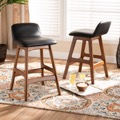 Designer Studios Darrin Mid-Century Modern Black Faux Leather Upholstered and Walnut Brown Finished Wood 2-Piece Counter Stool Set