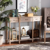 Designer Studios Hallan Classic and Traditional French Provincial Rustic Whitewashed Oak Brown Finished Wood 3-Drawer Console Table