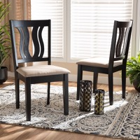 Designer Studios Fenton Modern and Contemporary Sand Fabric Upholstered and Dark Brown Finished Wood 2-Piece Dining Chair Set