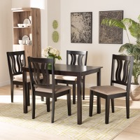 Designer Studios Fenton Modern and Contemporary Sand Fabric Upholstered and Dark Brown Finished Wood 5-Piece Dining Set