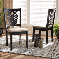 Designer Studios Gervais Modern and Contemporary Sand Fabric Upholstered and Dark Brown Finished Wood 2-Piece Dining Chair Set