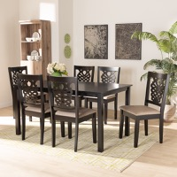 Designer Studios Gervais Modern and Contemporary Sand Fabric Upholstered and Dark Brown Finished Wood 7-Piece Dining Set