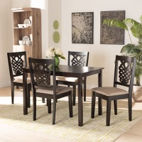 Designer Studios Gervais Modern and Contemporary Sand Fabric Upholstered and Dark Brown Finished Wood 5-Piece Dining Set