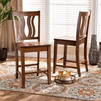 Designer Studios Fenton Modern and Contemporary Transitional Walnut Brown Finished Wood 2-Piece Counter Stool Set
