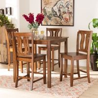 Designer Studios Fenton Modern and Contemporary Transitional Walnut Brown Finished Wood 5-Piece Pub Set