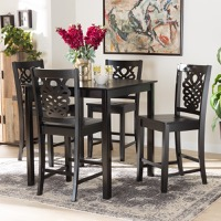 Designer Studios Gervais Modern and Contemporary Transitional Dark Brown Finished Wood 5-Piece Pub Set