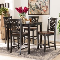 Designer Studios Gervais Modern and Contemporary Transitional Two-Tone Dark Brown and Walnut Brown Finished Wood 5-Piece Pub Set