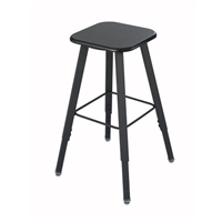 AlphaBetter Adjustable-Height Student Stool with Thermoplastic Seat and Tip-Resistant Base, Black