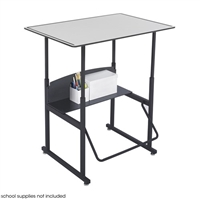 "AlphaBetter Adjustable-Height Stand-Up Desk, 36 x 24"" Premium Top and Swinging Footrest Bar, Gray"