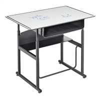 "AlphaBetter Adjustable-Height Stand-Up Desk, 36 x 24"" Premium Top, Book Box and Swinging Footrest Bar"