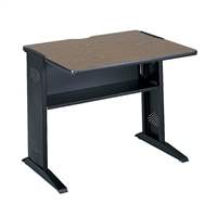 "Steel Base Desk - 36""W, Mahogany / Medium Oak (reversible top), Black (legs)"