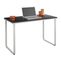 Work From Home Table Desk, Black top and silver base