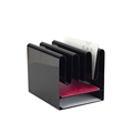 Wave Desk Accessory - Desktop File Organizer with 7 Vertical Sections & Letter-Size Paper Tray, Black