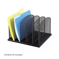 Onyx Desk Organizer - 5 Upright Sections, Black