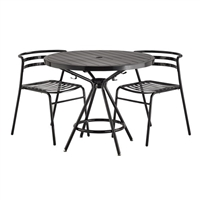 "CoGo Steel Outdoor/Indoor Table, Round, 36"", Black"