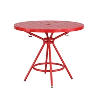 "CoGo Steel Outdoor/Indoor Table, Round, 36"", Red"