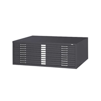 "10-Drawer Steel Flat File for 30"" x 42"" Documents, Black"
