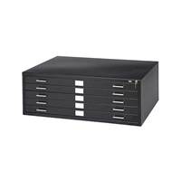 "5-Drawer Steel Flat File for 24"" x 36"" Documents, Black"