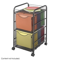 Onyx Mesh File Cart with 2 File Drawers, Black