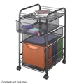 Onyx Mesh File Cart with 1 File Drawer and 2 Small Drawers, Black