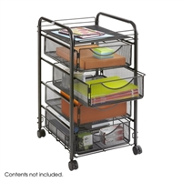 Onyx Mesh File Cart with 4 Drawers, Black
