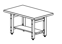 "Mayline Techworks Tables - 48""W 30""D Adjustable Table with high pressure laminate surface - Rectangular"