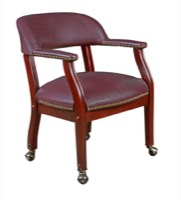Regency - Ivy League Captain Chair with Casters - Burgundy