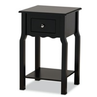 Designer Studios Hailey Classic Traditional and Transitional Black Finished Wood 1-Drawer Nightstand