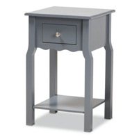 Designer Studios Hailey Classic Traditional and Transitional Dark Grey Finished Wood 1-Drawer Nightstand