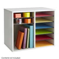 Wood Adjustable Literature Organizer - 12 Compartment, Gray