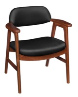 Regency Guest Chair - 476 Sustainable Leather Side Chair  - Cherry/ Black