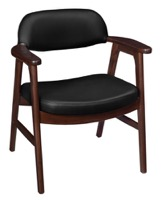 Regency Guest Chair - 476 Sustainable Leather Side Chair  - Mocha Walnut/ Black