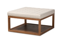 Designer Studios Alvere Modern and Contemporary Beige Fabric Upholstered Walnut Finished Cocktail Ottoman