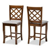 Designer Studios Aria Modern and Contemporary Grey Fabric Upholstered and Walnut Brown Finished Wood 2-Piece Counter Height Pub Chair Set