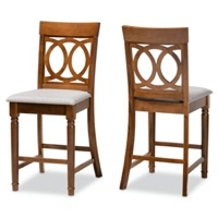 Designer Studios Violet Modern and Contemporary Grey Fabric Upholstered and Walnut Brown Finished Wood 2-Piece Counter Height Pub Chair Set