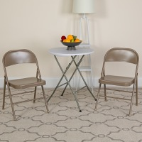 HERCULES Series Double Braced Beige Metal Folding Chair [BD-F002-BGE-GG]