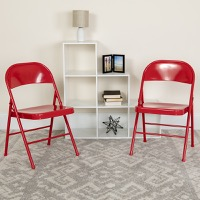 HERCULES Series Double Braced Red Metal Folding Chair [BD-F002-RED-GG]