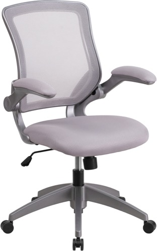 Contemporary Office Chair Grey Mesh With Grey Fabric Seat And Flip