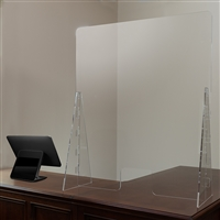 "Acrylic Free-Standing Register Shield / Sneeze Guard, 35""H x 42""L"