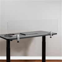 "Clear Acrylic COVID Virus Desk Partition, 12""H x 47""L - Mounting Hardware Included"