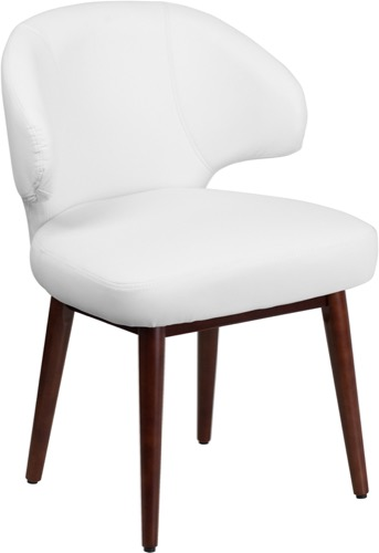 Remarkable Side Chair Comfort Back Series White Leather Reception Chair Walnut Legs Caraccident5 Cool Chair Designs And Ideas Caraccident5Info