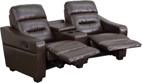 Admirable Futura Home Theater Seating 2 Seat Reclining Cup Holders Brown Leather Creativecarmelina Interior Chair Design Creativecarmelinacom