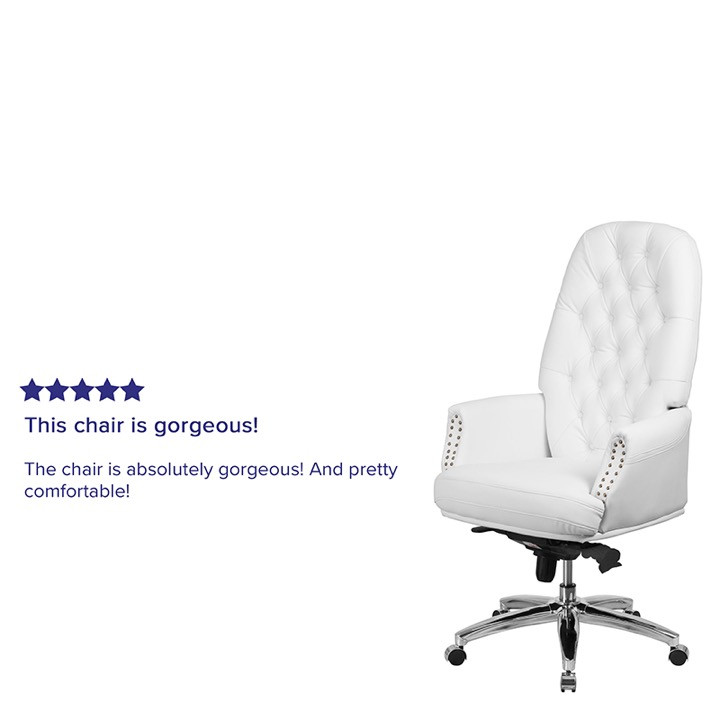 Swivel Chair High Back Traditional Tufted White Leather Multifunction Arms