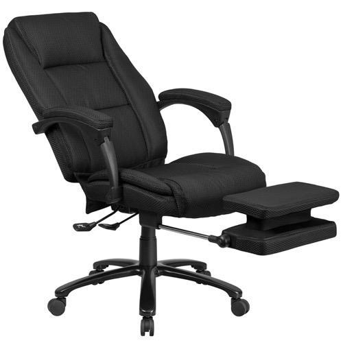 Executive Reclining Office Chair - High Back Black Fabric, Comfort Coil  Seat, Padded Arms