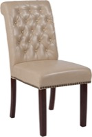 HERCULES Series Beige Leather Parsons Chair - Rolled Back, Nail Head Trim and Walnut Finish