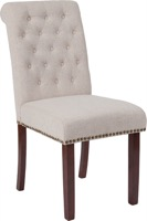 HERCULES Series Beige Fabric Parsons Chair - Rolled Back, Nail Head Trim and Walnut Finish
