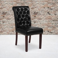 HERCULES Series Black Leather Parsons Chair - Rolled Back, Nail Head Trim and Walnut Finish