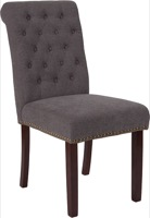 HERCULES Series Dark Gray Fabric Parsons Chair - Rolled Back, Nail Head Trim and Walnut Finish